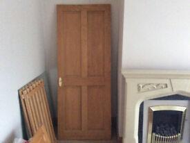 4 PANEL PINE INTERNAL DOORS WITH HINGES AND DOOR HANDLES