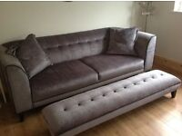 Beautiful 4 seater grey sofa with matching footstool