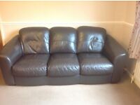 Faux leather brown sofas