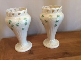 2 BELLEEK VASES WITH SHAMROCKS