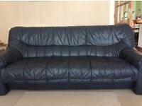 2 & 3 seater navy leather sofa