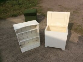 Bathroom seat/storage box and towel storage shelves/rack