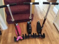 Maxi micro scooters x 3