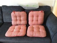 Gingham country style seat pad cushions
