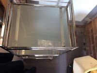 Ikea glass andd silver chrome trolley used slight rust