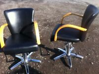 Matching pair of barber/salon chairs, traditional but modern