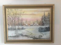 """Oil Painting by amateur artist 18""""x16"""" framed."""