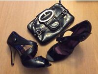 Ladies black cross-over button detail shoes, uk.size 5. with handbag.
