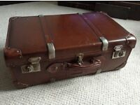 Vintage British made leather suitcase