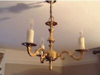 Victorian solid Brass chandalier ceiling lights x3