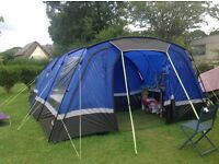 HI GEAR Voyager 6 berth tent in blue complete with matching porch.