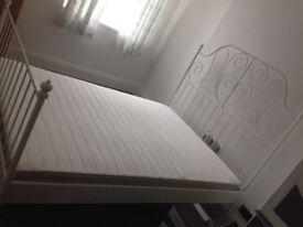 IKEA Leiruik double bed frame and Hafslo sprung mattress