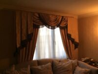 2 Sets ofGold Damask Curtains, pelmets and Tie Backs