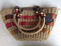 Sun 'n Sand Hand Woven Zip Top Beach Basket (NEW)
