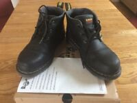 Ladies, Black grain, Dr Martens Safety Boots. Good Condition