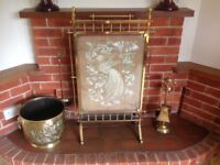 Antique/Vintage Brass Coal Bucket/Fireguard and Tools