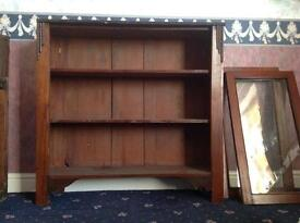 Antique Soft Wood Book Case Cabinet with Mahogany Doors