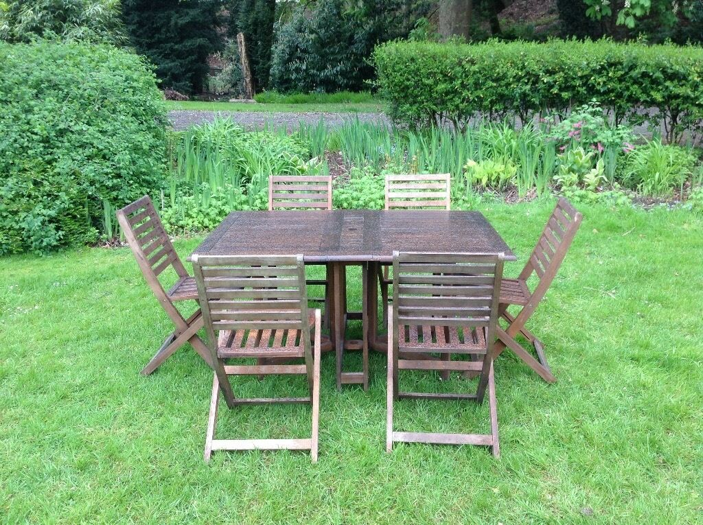 teak garden table six chairs set patio - Garden Furniture Nottingham