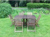 Teak garden table six chairs set patio