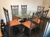 Wrought Iron 6 seater dining Table and chairs