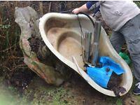 Preformed fibreglass pond liner plus preformed water fountain