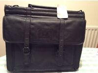 New black Milano leather laptop/ briefcase with tag