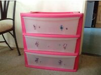 Pink 3 Draw storage unit