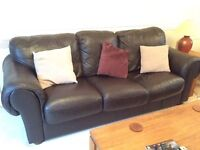 Brown Leather 3 piece Suite . Large 3 seater and 2 chairs
