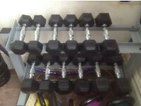 Dumbbell weight set and rack