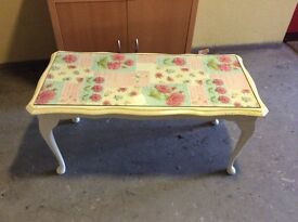 Shabby chic upcycled patchwork table Quenn Anne style