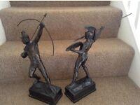 "Spelter bronze warrior pair Greek figures 15"" tall signed"