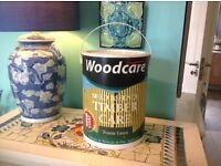 Large tin OF FENCE OR SHED SPECIAL OUTDOOR WOOD PAINT IN A DARK GREEN .BARGAIN !