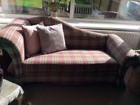 Chaise sofa reupholstered in mauve and cream check excellent condition