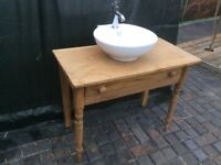 PINE VICTORIAN WASH STAND BRAND NEW BASIN AND TAP