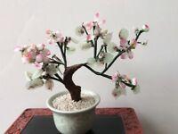 Chinese Glass/Stone Bonsai Tree Flower Ornament
