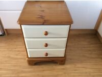 Ducal Pine 3 drawer bedside table drawers painted with chalk paint and waxed with clear wax