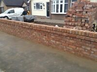 Reclaimed red Cheshire bricks cleaned and ready for pick up collation from Rhuddlan North Wales