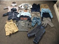 A lovely bundle of boys clothes in a size 0-3/3-6 months in good condition 17 items in total.