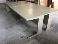 Four Grey Rectangle Desks & Attached Pedestals
