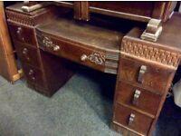 Solid oak carved dressing table