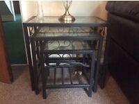 Black chrome & glass nest of tables