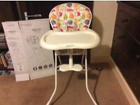 Graco tea time highchair, nearly new, used half a dozen times.