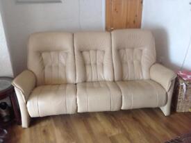 leather 3 seat reclining sofa