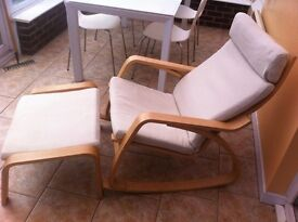 IKEA Poang Rocking Chair and Footstool.