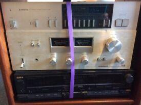 Wharfedale speakers, Pioneer amp SA506, Pioneer tuner, Aiwa cassette player & custom made cabinet