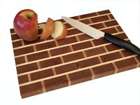 Handcrafted Cherry and Maple Brick Patterned Cutting/Serving Board