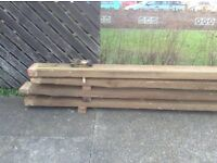 """Four lengths of solid wood, 16' long X 9"""" wide x3"""" in depth"""