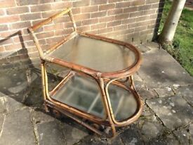 DRINKS TROLLY GARDEN ANTIQUE BAMBOO AND GLASS ABOUT 80/90 YRS OLD MUST BE COLLECTED NEXT 2 DAYS