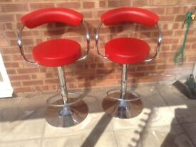 Two Chrome and Leatherette Bar Stools
