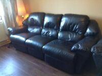 Sofa, Three Seater, Dark Navy Leather with matching Armchair.